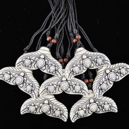shark tails Canada - Wholesale 12PCS Cool Ethnic Tribal White Imitation Yak Bone Shark Whale Tail Surfing Turtles Pendant Necklace Mermaid tail charms Gift MN544
