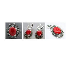 $enCountryForm.capitalKeyWord Australia - Red lady carved marcasite lacquer sterling silver flower ring earrings and pendant jewelry sets