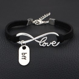 InfInIty frIends jewelry online shopping - Personality Fashion Infinity Love Boy Friend Forever BFF Pendant Diy Bracelets Bangles For Women Men Black Leather Suede Rope Jewelry Gift