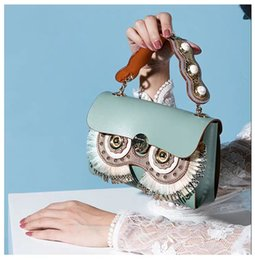 $enCountryForm.capitalKeyWord Australia - High Quality Genuine Leather Bag Owl Patter Multi-color Decorative Combination Fashion Party Shoulder Bags Pearl Chain