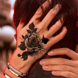 $enCountryForm.capitalKeyWord Australia - Waterproof Temporary Tattoo Stickers rose flower plant back in hand Fake Tatto Flash Tatoo Art tattoos for Girl Women Men kid