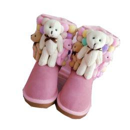 $enCountryForm.capitalKeyWord UK - Korean version of the winter trend handmade cartoon hair ball cute leather cowhide tube snow boots pink bear cotton shoes women