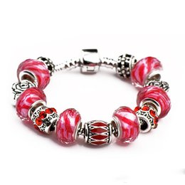 $enCountryForm.capitalKeyWord Australia - Beautiful Silver Plated Alloy Charm Bracelets Women Rose Big Beads Ruby Fit Pandora Bangles Jewelry With LOGO Dust Bag