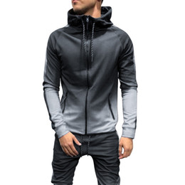 hip casual clothes Canada - Men Fashion Hoodies 3D Gradient Zipper Hip Hop Casual Hooded Sweatshirts 2019 Autumn Drawstring Full-zip Streetwears clothes