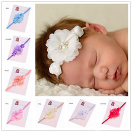 $enCountryForm.capitalKeyWord Australia - Wholesale 30pcs Baby Rosette flower Elastic headband Baby Photo Prop Christening headband flower girl headband Fancy Hair Accessory