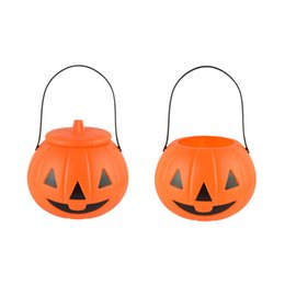 classic plastics Australia - Halloween Fashion Pumpkin Lamp with Cover Pumpkin Barrel Hand-held Kindergarten Children's Plastic Toys Candy Cans Decoration