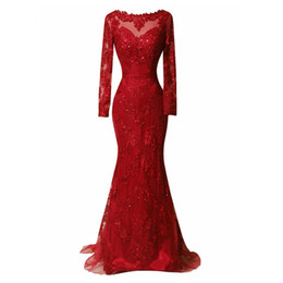 Chinese  Emerald Red Lace Long Evening Dress 2018 Long Sleeves Beads Sweep Train Women Sexy Sequins Formal Pageant Gown For Prom Party manufacturers