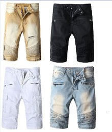 mens short jeans trousers NZ - New france Bal main Mens Jean Shorts Designer Jeans for Men Famous Men Denim Biker ripped zipper Jeans 4 Styles Pants trouser
