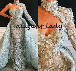 Gown short hand lonG online shopping - Valdrin Sahiti High Neck Prom Pageant Dresses Mint One Shoulder long sleeve Luxury Lace D Floral Evening Wear Gowns with Detachable Train