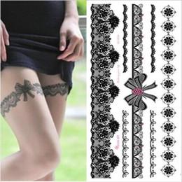 $enCountryForm.capitalKeyWord Australia - 1piece White Black Henna Tattoo Sexy Lace Stocking Arabic Indian Rose Butterfly Bow Flash Wedding Art Paint On Hand Arm Leg SH190724