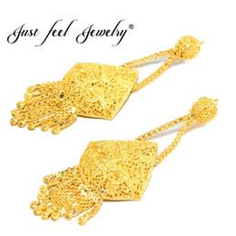 EmErald gifts for womEn online shopping - JUST FEEL New Dubai Gold Color Copper Plus Big Size Wedding Tassel Earring for Ethiopian Arab Inidan Nigerian Women Jewelry Gift J190522