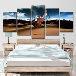 modern music oil painting UK - HD Printed 5 Piece Canvas Art Music Drum Violin Wall Pictures for Living Room Modern Free Shipping Canvas Painting