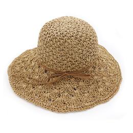 $enCountryForm.capitalKeyWord UK - Summer Hats For Women Panama Handmade Crochet Straw Hat Femme Foldable Sun Hat Large Wide Brim Visor Bone Female Beach Sun Cap