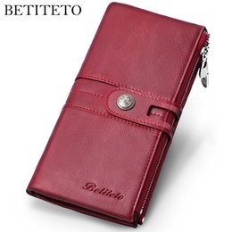 Handy Wallets Australia - Rfid Genuine Leather Women Wallet Female Vintage Coin Purse Long Clutch Money Bag Carteras Handy Kashelek Cuzdan