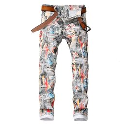 sexy 3d painting Australia - Sokotoo Men's English flag beauty girl 3D printed jeans Slim fit colored drawing painted stretch pants CJ191130