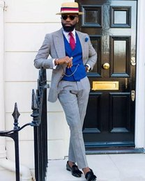 Grey Check Piece Suit Australia - Handsome Groomsmen Grey Groom Tuxedos Mens Wedding Dress Man Jacket Blazer Prom Dinner 3 Piece Suit(Jacket+Pants+Tie+Vest)