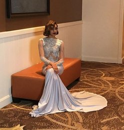 Fabulous Prom Dresses Australia - Fabulous Mermaid Long Prom Dresses 2019 Sheer Long Sleeve Applique Lace Prom Gowns See Through Evening Party Dresses Bateau Neck Custom Made