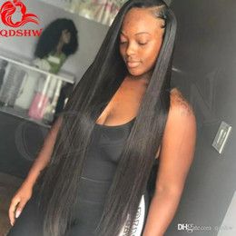 long 22 inch brazilian hair Australia - 30 Inch Full Lace Wig PrePlucked Virgin Brazilian Glueless Long Straight 26 28 30 Inch Human Hair Lace Front Wigs With Baby Hair