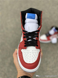 7d56cc58cac099 2018 Newest Authentic 1 High OG Chicago Crystal 1S Gym Red Blue White  Spider Man Basketball Shoes Men Sports Sneakers 555088-602
