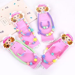 Cosplay earrings online shopping - Kids Girls Cute Candy Color Necklace Bracelet Jewelry Set Beads Petals Acrylic Children Christmas Gift Party Cosplay Accessories