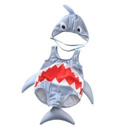 $enCountryForm.capitalKeyWord Australia - 2PCS Kids Baby Girls Boys Cartoon Shark Swimwear Costume Swimsuit 3D Pattern Animal Tail Caps Hat Bikini Set Beachwear Cute 1-6T