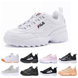 purchase cheap 3084a d935e Fila 2 II Nouvelle arrivée hommes femmes chaussures de course triple blanc  noir rose rose gris designer mens formateurs femmes cuir sport baskets  chaussures ...