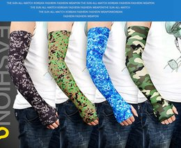 Camo Arm Sleeves Cycling Camouflage Anti-UV Protective Elastic Arm Warmers Outdoor Riding Fishing Guard Protective Sleeves LJJA4022 on Sale