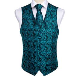 $enCountryForm.capitalKeyWord Canada - DiBanGu Men's Teal Green Vest Pocket Square Tie Cufflinks Hanky Suit Set For Men Wedding Party Business MJ-107