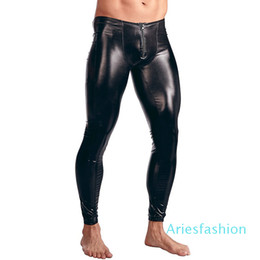 leggings costumes NZ - Mens Patent Leather Pants Zipper Bulge Pouch Tight Shinny Leggings Trousers Underwear Clubwear Party Sexy Leotard Costumes XM01