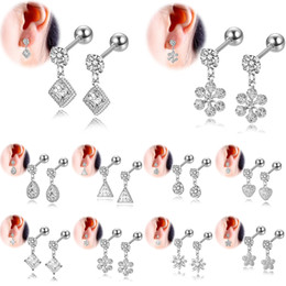 Discount dangle plugs - 4pcs C Z Zircon Flower Star Heart Helix Cartilage Earrings Punk Ear Piercing Jewelry Dangle Tragus Clip on Earring Jewel