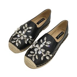 Wholesale Rhinestone Glitter Shoes Espadrilles Women Platform Flats Shoes Loafers Genuine Leather Creepers
