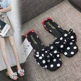 Discount bow fish shoes - 2019 Women's shoes slippers Summer sweet wave point bow flower jelly shoes plastic flat fish mouth beach white