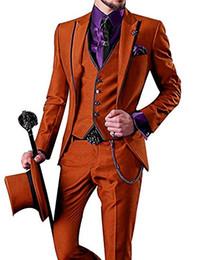 $enCountryForm.capitalKeyWord UK - Fashionable One Button Orange Groom Tuxedos Peak Lapel Men Wedding Party Groomsmen 3 pieces Suits (Jacket+Pants+Vest+Tie) K232