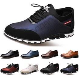sneakers business casual 2020 - 2020 New Arrival Designer men leather casual shoes black navy blue brown Business fashion platform flat party mens train