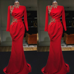 sample prom dresses 2019 - 2019 New Mermaid Red Muslim Formal Evening Dresses Long Sleeve High Neck Zuhair Murad Special Occasion Prom Dresses Real