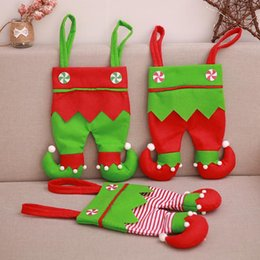 Best Gifts Supply Australia - Non Woven Fabric Christmas Elf Pants Stocking Candy Bag Kids X-mas Party Decorations Ornament Best Gifts Halloween Supplies 6 Color DHL Fast