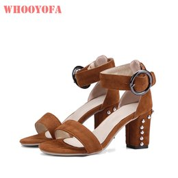 a1c9047bfaa4 Hot Brand New Comfortable Brown Gray Women Wedding Sandals Black Chunky Heels  Lady Dress Shoes WS359 Plus Big Size 11 43 46 48