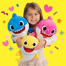 Discount new songs - 3 Colors 32cm Baby Shark Plush Toys with Music sing the English song Cartoon Stuffed Lovely Animal Soft Dolls Music Shar