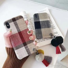 iphone tassels Australia - Amazing Kuutti Squishy Red Coffee Fabric Cloth Vintage Grid Checked Phone Cases with Cute Plush Ball Tassels for iPhone 6 6s 7Plus X