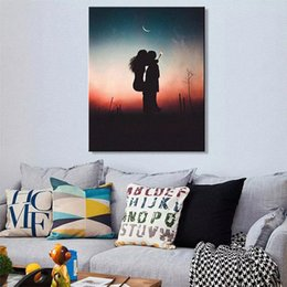canvas print prices UK - Nordic Creative Art Mordern Lovers Sunset Kiss Canvas Poster Print Picture Mural Cheap Price for Bed Room Painting on Canvas