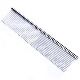 Long Hair Cats Australia - 1pcs Dog Comb Long Thick Hair Fur Removal Brush Stainless Steel Lightweight Pets Dog Cat Grooming Combs For Shaggy Dogs Barber