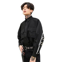 Wholesale iron men costumes for sale - Group buy Man Rivet Iron Ring Hollow Bat Long Sleeve Shirt Male High Street Fashion Hip Hop Punk Loose Casual Dress Shirt Stage Costumes