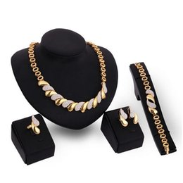 jewelry set african pink NZ - New African Jewelry Sets Gold Trendy Necklace Earrings Bracelet Ring Women Gold Color Jewelry Set Wedding Accessories