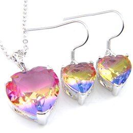 Copper Colored Earrings Australia - Wholesale Luckyshine Rainbow Heart Crystal Zircon Sets Earring Pendants 925 Silver Bi colored Tourmaline For Women Wedding Jewelry Set