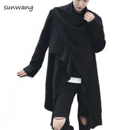 Mens gothic long coat online shopping - Autumn Harajuku Gothic Fashion Unique Irregular Designer Long Mens Overcoat High Collar Trench Peacoat Wool Coat Men Jackcket