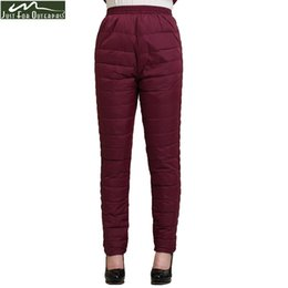 Women Warm Winter Thick Trousers Australia - 2017 Winter Women Duck Down Pants Trousers High Waist Outer Wear Female Casual Straight Warm Thick Pants Cold-proof Trousers
