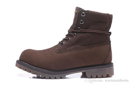 $enCountryForm.capitalKeyWord Australia - Top Boots Brown Genuine Leather Upper Roll With Grids Canvas For Men Timber1and Boots Outlet Fashion Work Hiking Boots Shipped Free