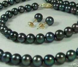 $enCountryForm.capitalKeyWord Australia - Women's Wedding 7-8mm Black Cultured Pearl Necklaces Bracelets Earrings Set real silver-jewelry silver-jewelry