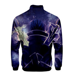 anime sword art Canada - Creative Anime Bomber Jackets Sword Art Online Alicization Cartoon Zipper Jackets SAO World Spring Autumn Men Windbreaker Jacket