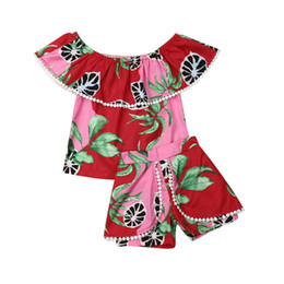 China Infant Girls Floral Off Shoulder Tops Pants Outfits Sexy Tube Top Short-sleeved Shirt Pompom Shorts 2 pcs Set cheap sexy pant boys suppliers
